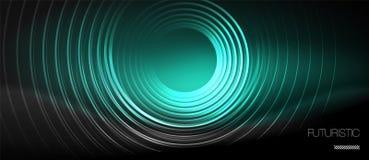 Donkere abstracte achtergrond met gloeiende neoncirkels vector illustratie