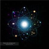Donkere achtergrond met shinny banen in ruimte met sterren Stock Fotografie