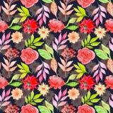 Donkere achtergrond van het waterverf de bloemen naadloze patroon royalty-vrije illustratie