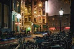 Donkere avond in Amsterdam Royalty-vrije Stock Foto