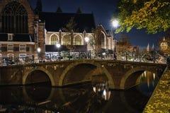 Donkere avond in Amsterdam Royalty-vrije Stock Foto's