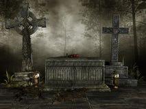 Donkere begraafplaats met kruisen stock illustratie