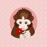 Donkere bruine aap die een rode bloem houden Stock Afbeeldingen
