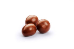 Donkere bruine die dragee, in chocolade met het knippen van weg wordt behandeld Royalty-vrije Stock Foto's
