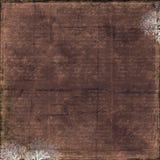 Donkere bruine grungy uitstekende tekstachtergrond met bloemenkader Stock Afbeelding