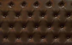 Donkere bruine het patroon retro stijl van de leerzetel Stock Foto's