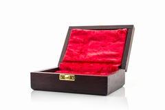 Donkere bruine houten doos Stock Afbeeldingen