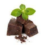 Donkere chocolade met muntbladeren Royalty-vrije Stock Afbeelding