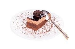 Donkere chocoladecake Stock Foto