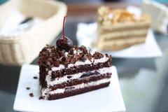 Donkere chocoladecake Royalty-vrije Stock Afbeelding