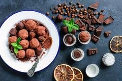 Donkere chocoladetruffels met koffiebonen en muntblad Stock Foto