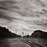 Donkere cloudscape over station Stock Afbeelding