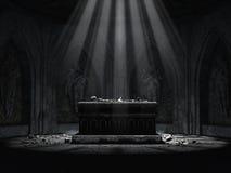 Donkere crypt met een griezelig altaar royalty-vrije illustratie