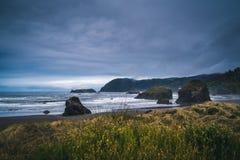 Donkere dag op de kust Stock Afbeelding
