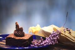 Donkere de chocoladecake van Nice met aardige kleur als achtergrond Stock Foto's