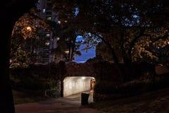 Donkere de Onderdoorgangstoep van de Stadsbrug bij Nacht Stock Foto