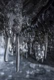 Donkere en enge takken van ijskegels in hol Verscheidene scherpe ijskegels die van het holplafond hangen Stock Foto