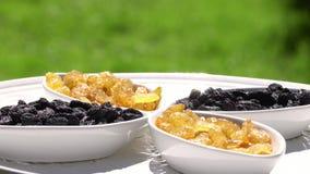 Donkere en lichte rozijn grotendeels Gezond voedsel Droge vruchten Beweging in een cirkel 4K stock footage