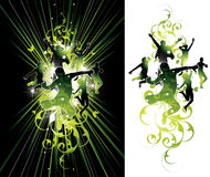 Donkere en lichte springende mensen vector illustratie