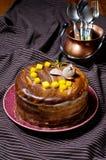 Donkere en witte chocoladecake Stock Foto