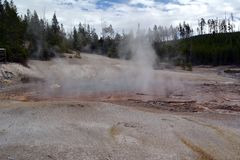 Donkere enge Geiser in Norris Geyser Basin in Park Yellowstone royalty-vrije stock foto
