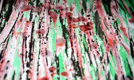 Donkere fosforescerende zwarte roze wasachtige druppelsverf De abstracte achtergrond van de waterverfverf Royalty-vrije Stock Foto