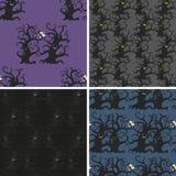 Donkere geplaatste bomen naadloze patronen Stock Foto's