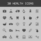 Donkere gezonde en gezondheidszorg voor bejaarden pictogramreeks Royalty-vrije Stock Fotografie