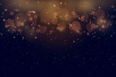 Donkere gouden abstracte bokehkerstmis als achtergrond en Gelukkig nieuw jaar op vaag bokeh vector illustratie