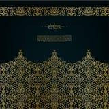 Donkere gouden achtergrond van het Arabesque de oostelijke abstracte uitstekende element vector illustratie