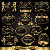 Donkere gouden-ontworpen etiketten - vectorreeks Royalty-vrije Stock Afbeeldingen