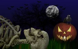 Donkere, Griezelige Halloween-Samenstelling vector illustratie