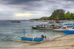 Donkere hemel over de oceaan, het Kleine Eiland GILI Indonesia Van de Indische Oceaan Stock Afbeelding