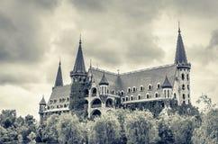 Donkere hemel over het kasteel stock fotografie