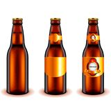 Donkere het ontwerp 3d realistische vector van de bierfles Stock Foto