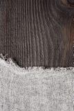 Donkere hout en kaasdoekachtergrond Royalty-vrije Stock Foto