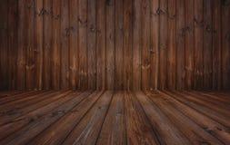 Donkere houten textuurachtergrond, houten muur en vloer Stock Foto