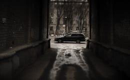 Donkere kant van de straat Royalty-vrije Stock Foto