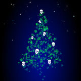 Donkere Kerstboom met Marihuanabladeren en Menselijke Schedels Stock Afbeeldingen