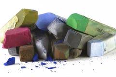 Donkere kleuren 2 van het pastelkleurkrijt Stock Foto