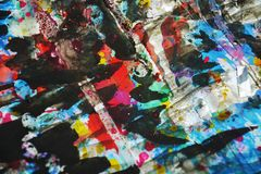 Donkere kleurrijke verf levendige wasachtige vage kleuren, contrasten, wasachtige creatieve achtergrond stock fotografie