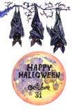Donkere knuppels met volle maan & x22; Gelukkige Halloween& x22; Royalty-vrije Stock Foto