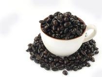 Donkere koffiebonen in kop stock fotografie