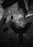 Donkere koningin die van het spook in het donkere geruïneerde kasteel, zijn vleugels op de achtergrond van de vernietiging van de Royalty-vrije Stock Foto's