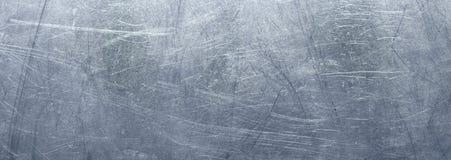 Donkere metaalachtergrond, panorama van een roestvrij staaltextu Stock Afbeeldingen