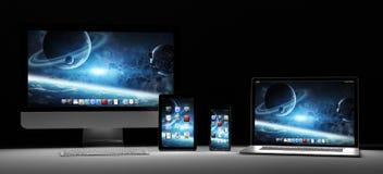 Donkere moderne computerlaptop mobiele telefoon en tablet het 3D teruggeven Royalty-vrije Stock Foto