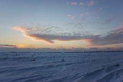 Donkere mooie hemel De Zon van de zonsondergang Snel drijvende wolken echte de winter ijzige zonsondergang op het gebied Stock Foto's