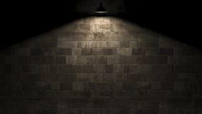 Donkere muur met lamp boven het 3d teruggeven Royalty-vrije Stock Afbeeldingen