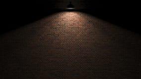 Donkere muur met lamp boven het 3d teruggeven Royalty-vrije Stock Fotografie
