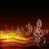 Donkere muziekachtergrond met gouden muzieknoten en g-sleutel Stock Afbeeldingen